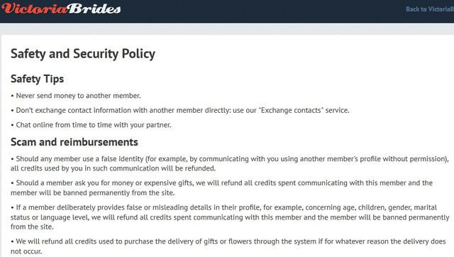 VictoriaBrides security policy