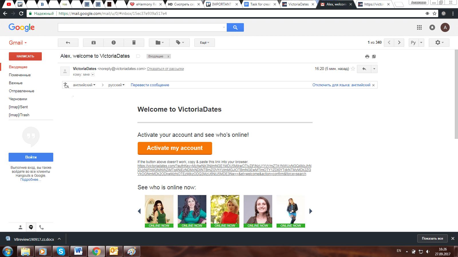 VictoriaDates Account activation