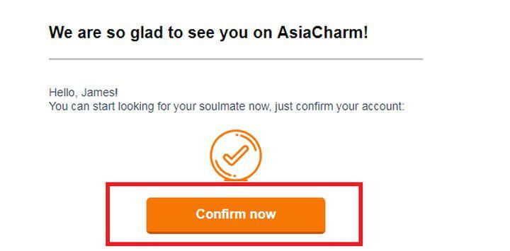 Verification email form AsiaCharm